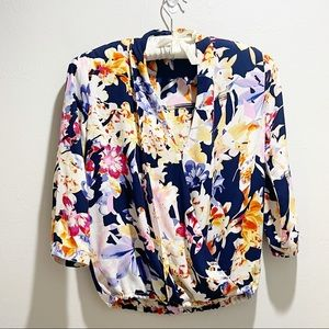 THREE EIGHTY TWO REVOLVE Blue Floral Surplice Top